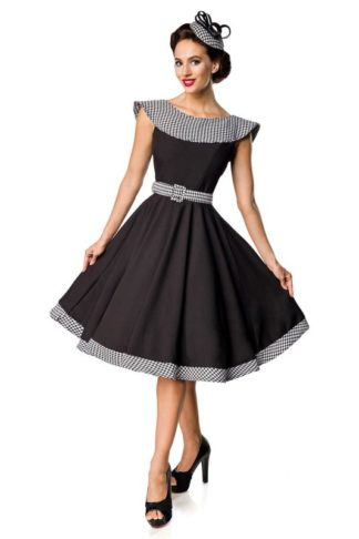 Belsira Ärmelfreies Swingkleid Schwarz Weiß