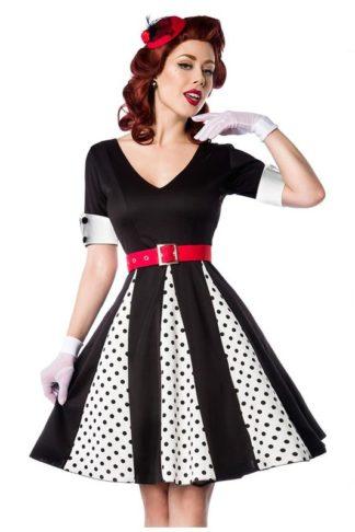 Belsira Godet Kleid mit schwarzen Punkten