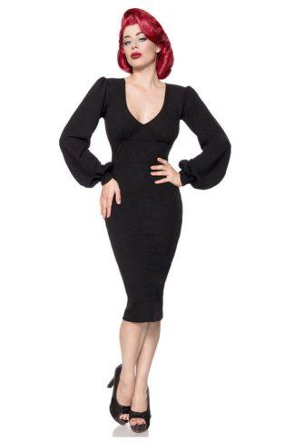 Belsira Retro Kleid Schwarz mit langen Ärmeln
