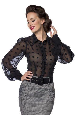 Belsira Vintage Bluse Schwarz