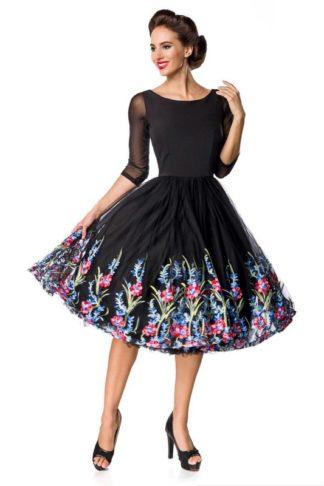 Belsira besticktes Swing-Kleid Schwarz