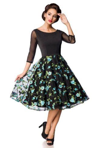 Belsira besticktes Swing-Kleid Schwarz/Blau