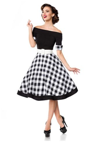 Belsira schulterfreies Gingham Swing-Kleid