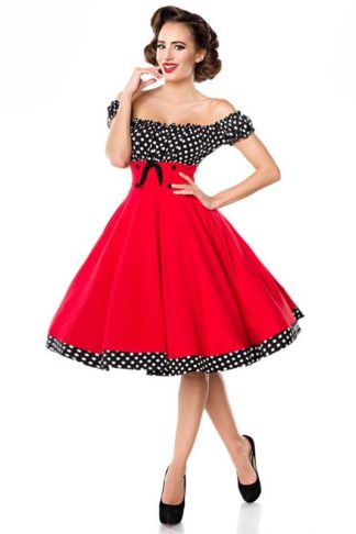Belsira schulterfreies Tellerrock-Kleid Rot