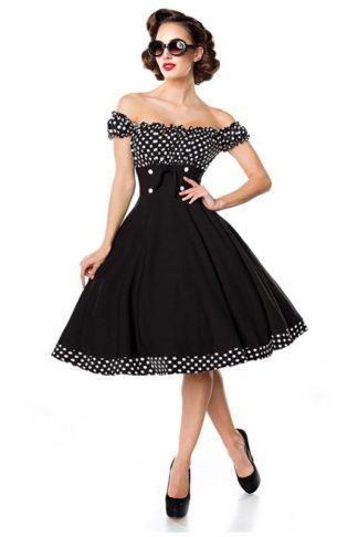 Belsira schulterfreies Tellerrock-Kleid Schwarz
