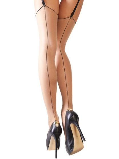 Burlesque Nahtstrümpfe Flesh mit Elasthan