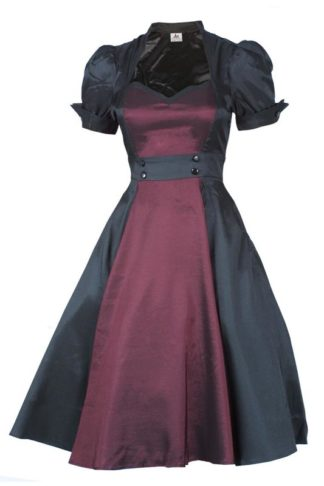 Contrast Swing Dress Bordeaux