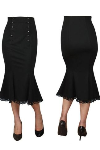 Double Button Skirt Black
