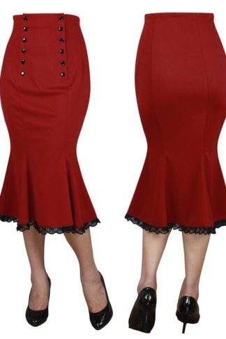 Double Button Skirt Red