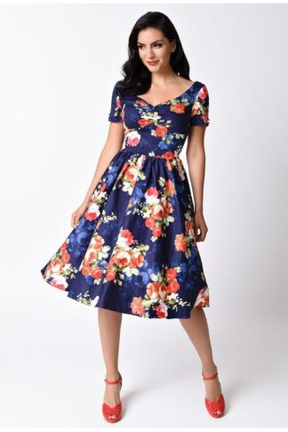 Floral Navy Blue Dress