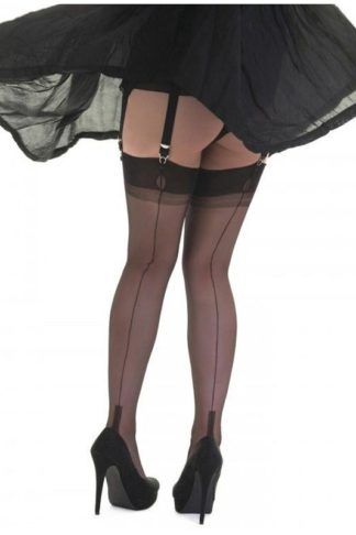 Fully Fashioned Nylons Cuban Heel Schwarz