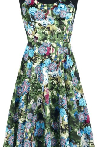H&R London Green Crop Floral Swing Dress Mittellanges Kleid multicolor