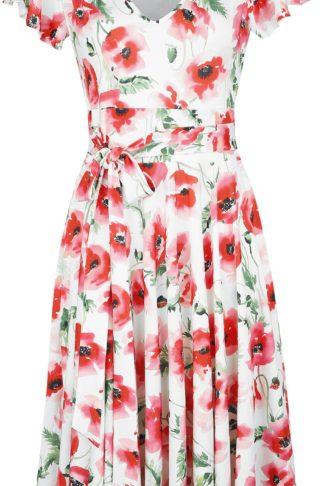 Hell Bunny Aquarelle Dress Mittellanges Kleid weiß/rot