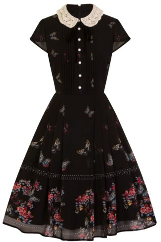 Hell Bunny Butterfly Dress Mittellanges Kleid schwarz