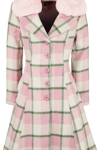 Hell Bunny Millicent Coat Mantel rosa/grün