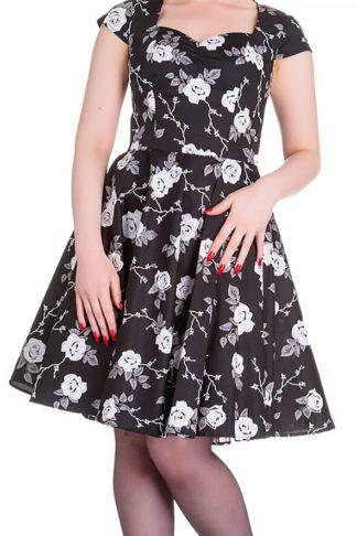 Hell Bunny Natalia Dress Mittellanges Kleid schwarz/weiß