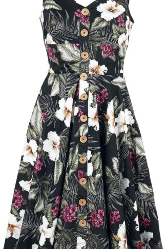 Hell Bunny Tahiti 50's Dress Mittellanges Kleid schwarz