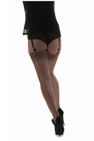 Nylons Cuban Heel Haut mit schwarzer Naht