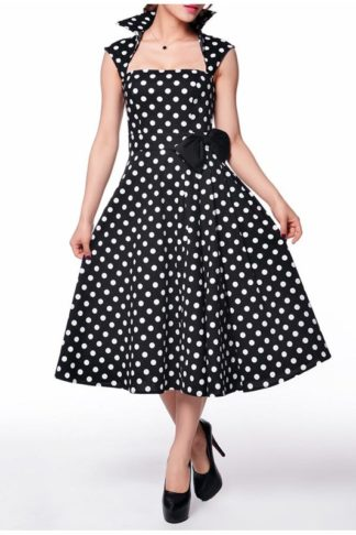 Polka-Dot Belted Black