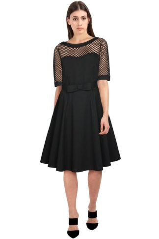 Retro Fishnet Circle Kleid Schwarz