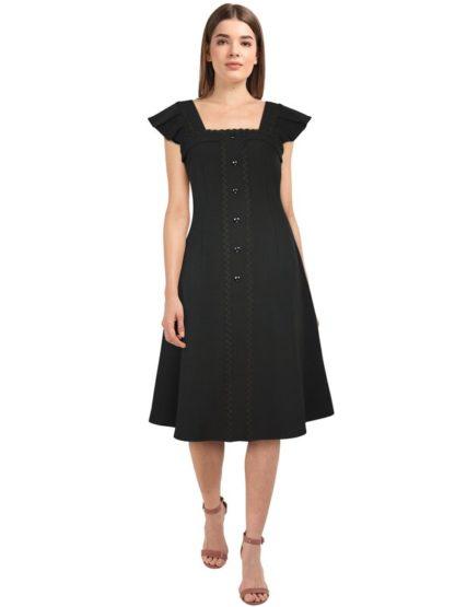 Retro Kleid mit Faltenärmelchen Schwarz