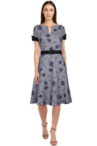 Retro Kleid mit V-Neckline Grau
