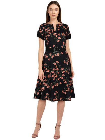 Retro Kleid mit V-Neckline Schwarz