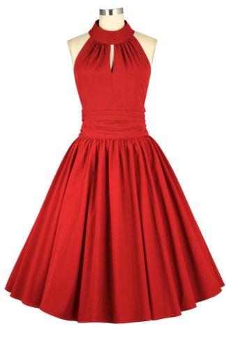 Retro Neckholder Kleid Rot