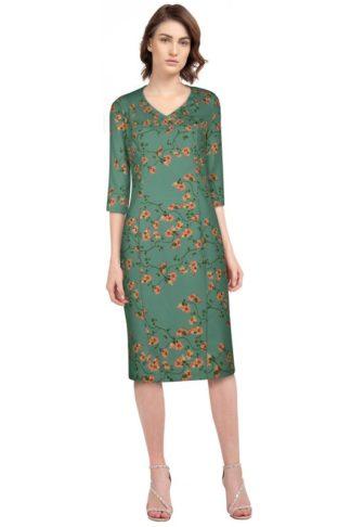 Retro Pencil Kleid mit Blumen Grün