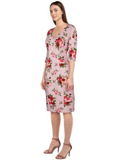 Retro Pencil Kleid mit Blumen Pink