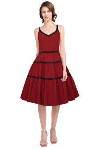 Retro Schulter Kleid Rot