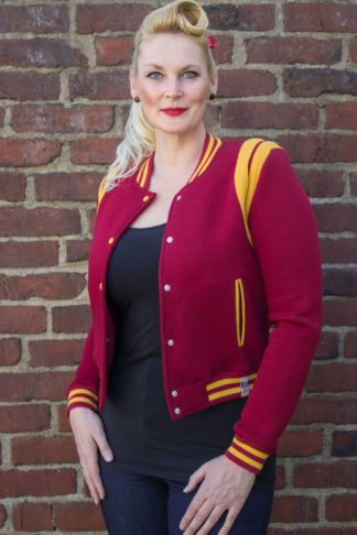 Rumble59 - Sweat College Jacke - bordeaux/senf von Rockabilly Rules