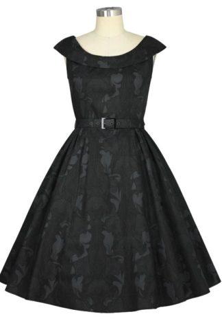 Schwarzes Retro Kleid mit großem Kragen