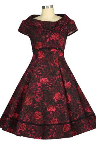 Vintage Swingkleid Rot Blumenmotiv
