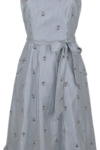 Voodoo Vixen Andy Anchor Dress Mittellanges Kleid blau/weiß