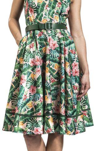 Voodoo Vixen Jinkx Tropical Print Dress - Unreal Red Heads Collaboration Mittellanges Kleid grün