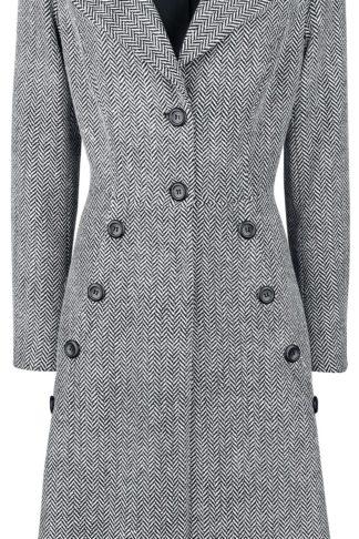 Voodoo Vixen Nicole Grey 40s Style Coat Mantel schwarz/weiß