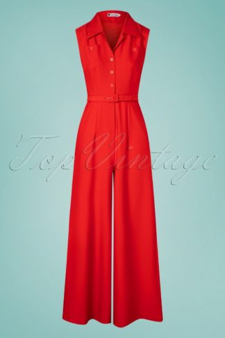 40s Aggy Jumpsuit in Red