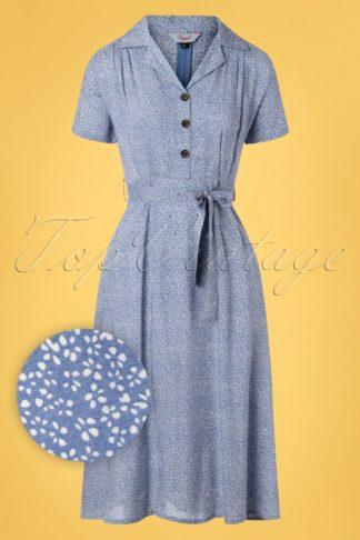 40s Ditzy Floral Swing Dress in Light Blue