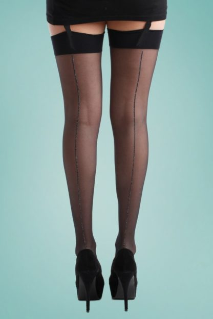 40s Jive Stockings in Black and Silver