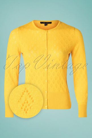 40s Oyster Fusion Roundneck Cardigan in Yellow