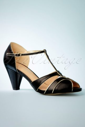 40s Penelope Peeptoe Pumps in Black