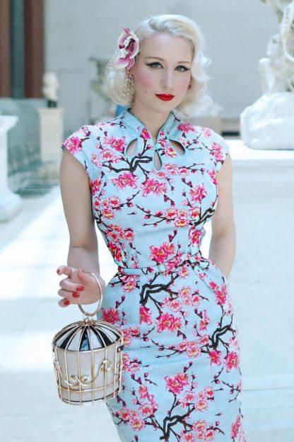 50s Alice Blossom Pencil Dress in Blue