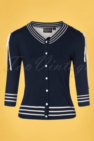 50s Ally Anchor Laces Cardigan in Navy