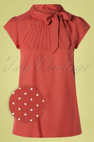 50s Anna Pin Dot Top in Pale Red