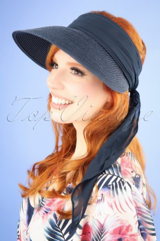 50s Augusta Straw Visor Hat in Navy