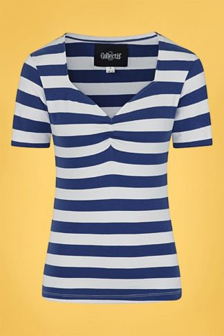 50s Carina Striped T-Shirt in Navy and White