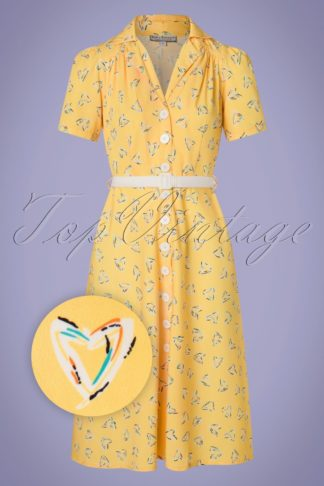 50s Charlene Shirtwaister Dress in Yellow Hearts