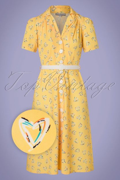 50s Charlene Shirtwaister Dress in Yellow Hearts