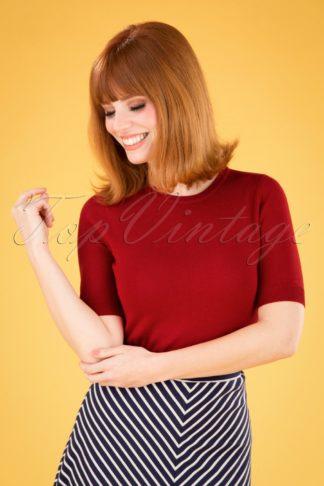 50s Debbie Short Sleeve Sweater in Lipstick Red
